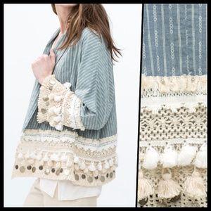 ZARA   Folk Boho Tassel Kimono Jacket Small